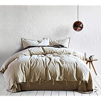 Image of Abojoy Vintage Stone Washed Linen Cotton Blend Duvet Cover Solid Color Casual Modern Style Bedding Set Relaxed Soft Feel Natural Wrinkled Look (King, Beige)
