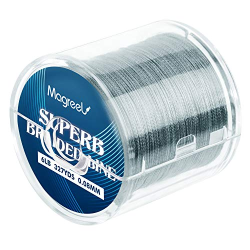 Magreel 20lb Braided Fishing Line, Abrasion Resistant Braided Lines High Performance Strong 4 Strand Superline Smaller Diameter Zero Stretch-327Yards (Best Braided Ice Fishing Line)