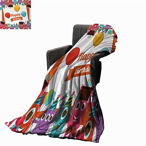 WinfreyDecor Birthday Throw Blanket Funny Happy Monsters Holding Chocolate Cakes Party Horns Kids Celebration Design,Super Soft and Comfortable,Suitable for -