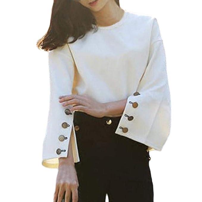 Luckycat Mujeres Sólido Blanco Largo Flare Manga Campana Casual Camisa Suelta Blusa Top (Blanco,