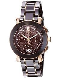 Fendi Women's 'Chrono' Swiss Quartz Gold-Tone and Ceramic Dress Watch, Color:Brown (Model: F674120)