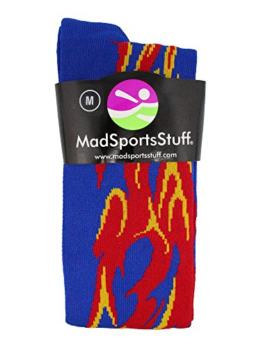 MadSportsStuff Flame Socks Athletic Over the Calf Socks (Royal/Red/Gold, Medium) by MadSportsStuff (Image #1)