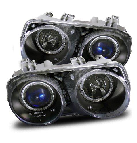 1994-1997 Acura Integra Twin Angel Eyes Halo Projector Headlights Black ()