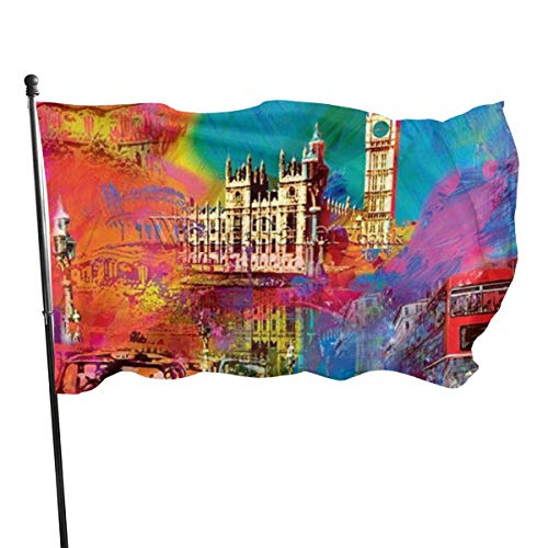 1 November Halloween Party London (THONFIRE USA Guard Flag Banner Hello Flags London City Scape Spring Outside Use Yard for Festival Patio Party Decorative 3x5)