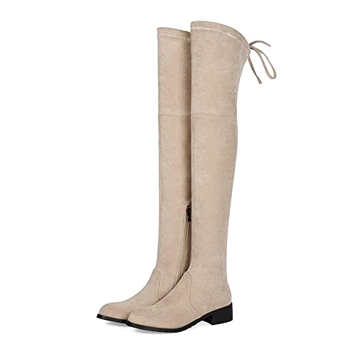 e5ed469e497 Over The Knee Boot Women Block Low Heel Slouchy Suede Leather Round ...