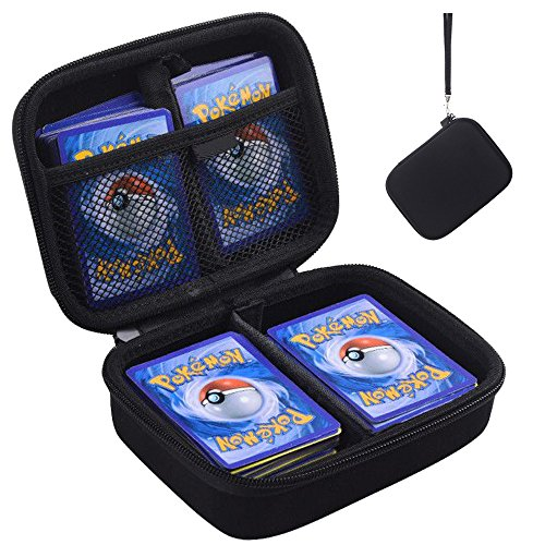 PAIYULE Hard Case Compatible Pokemon Trading Cards. Fits up to 400 Cards. Includes 2 Removable Divider(Black)