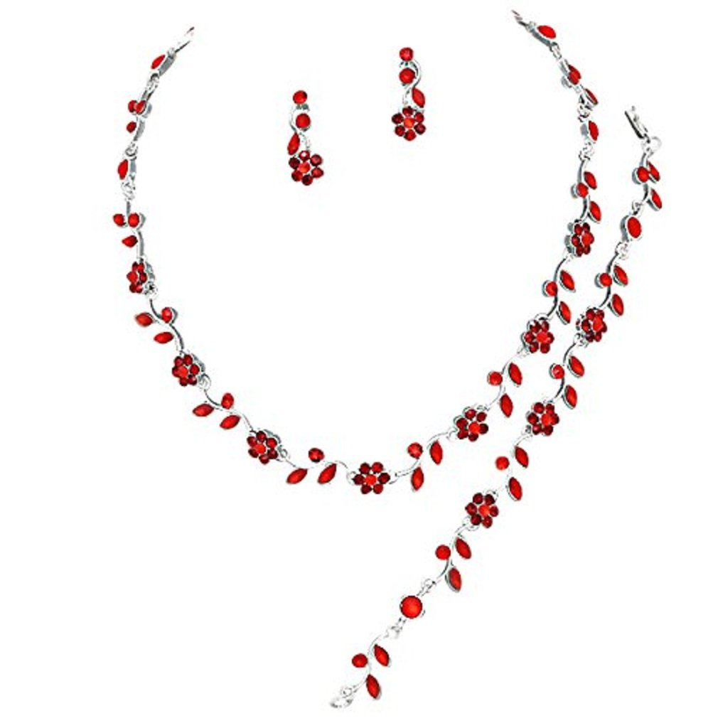 Inconnu Abordable Bijoux de Mariage Rouge Rubis Cristal 3pcs Ensemble de Collier Argent Bracelet Boucles d'oreilles mariée Formelle cc 6570