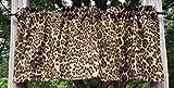 Cheetah Jaguar Big Cat Animal Skin Print Safari Wildlife Jungle Brown Handcrafted Curtain Valance