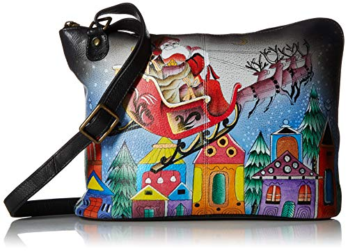 Anna by Anuschka Women's Genuine Leather Cross Body Travel Organizer with External Pocket | Hand Painted Original Artwork| Riding With Santa, One ()