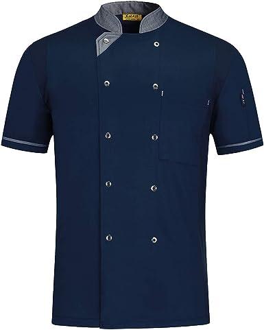 Pinji - Camisa de Chef Cocina Profesional Unisex Diseño Manga Corta para Verano, Uniforme de Chef Cocinero Camarero Clástico, Transpirable y Resistente al Desgaste: Amazon.es: Ropa y accesorios