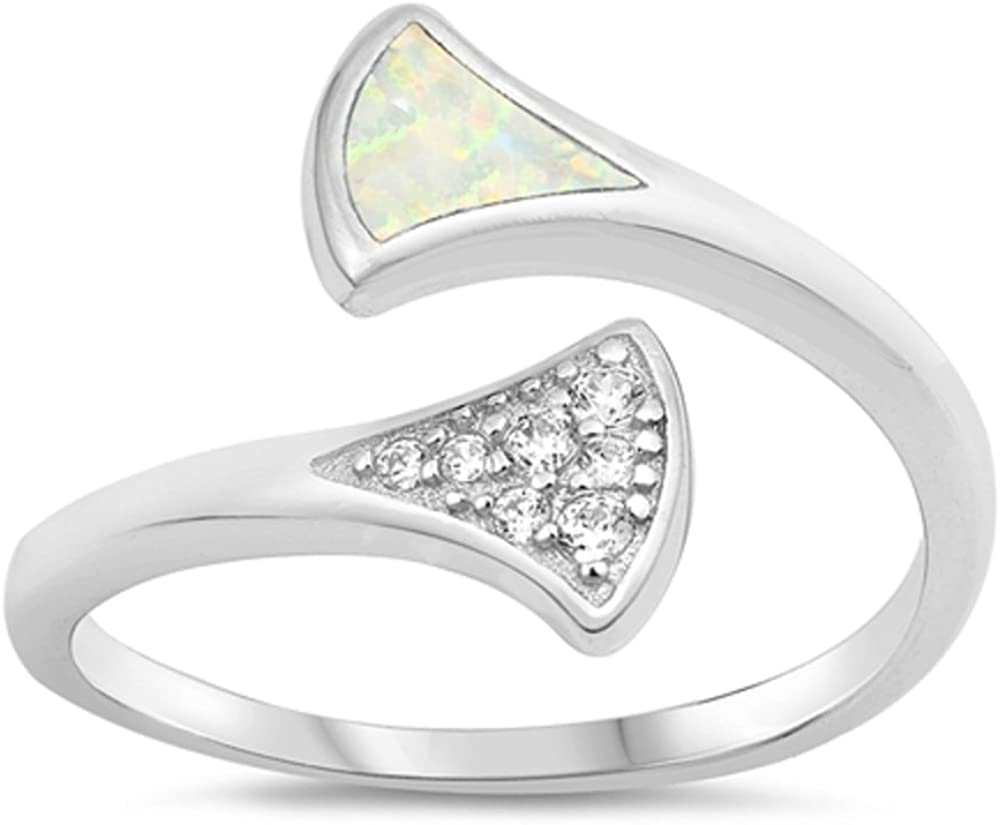 CloseoutWarehouse White Simulated Opal With Clear Cubic Zirconia Open Ring Sterling Silver