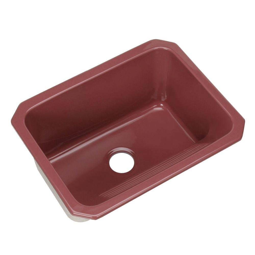 Kensington Undermount Acrylic 25x19.5x12 0-Hole Single Bowl Utility Sink Raspberry Puree by Thermocast
