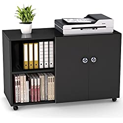 "File Cabinet, LITTLE TREE 39"" Large Storage Printer Stand, Mobile Lateral Filing Office Cabinet with Wheels, Door and Open Shelves for Home Office Studies Bedroom, Black&White"