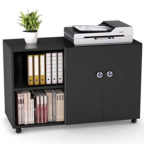 "File Cabinet, LITTLE TREE 39"" Mobile Lateral Filing Office Cabinet, Large Printer Stand with Wheels, Door and Open Shelf for Home Office, Black&White - Front Clear Door Hinged"