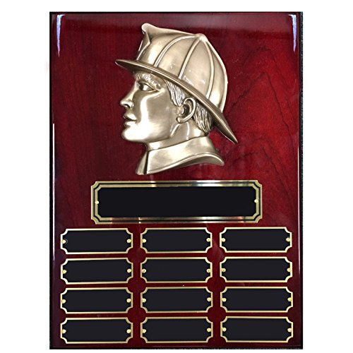 Customizable 12 x 9 Inches Perpetual Piano Finish Cherry Plaque with Brass Fireman Head, includes Personalization