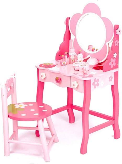 Tavolo da trucco in legno con accessori giocattolo per bambine
