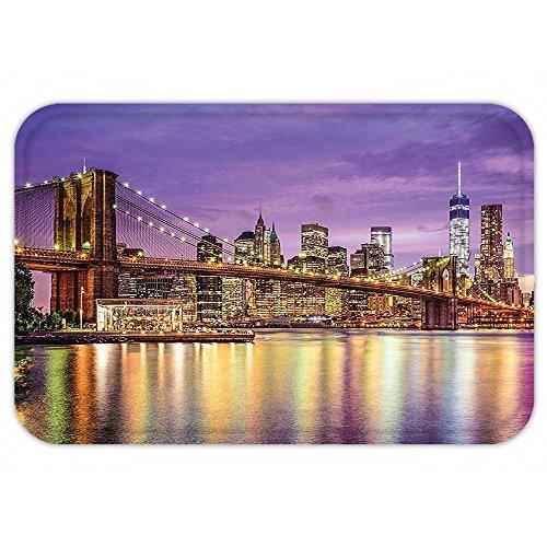Broadway Costumes Nyc (Kisscase Custom Door MatNew York Decor NYC Exquisite Skyline Manhattan Broadway Old Neighborhood Tourist Country Print Purple Gold)