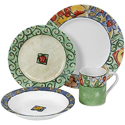 Corelle Impressions 16-Piece Dinnerware Set Service for 4 Watercolors  sc 1 st  Amazon.com & Amazon.com | Corelle Impressions 16-Piece Dinnerware Set Service ...