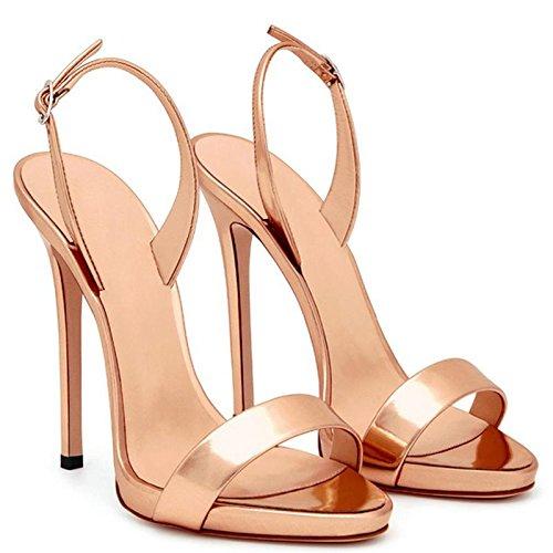 Donna I Casual Alti Sandali Champagne Stiletto Ankle Toe Strap Open Platform Pompa Tacchi Mzg FEwqpP