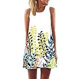 TUDUZ Women Dresses,Women's Summer Boho Floral Printed Sleeveless A-Line Dress Casual Loose Chiffon Dress Evening Party Beach Mini Dresses Sundress (White 625, L)