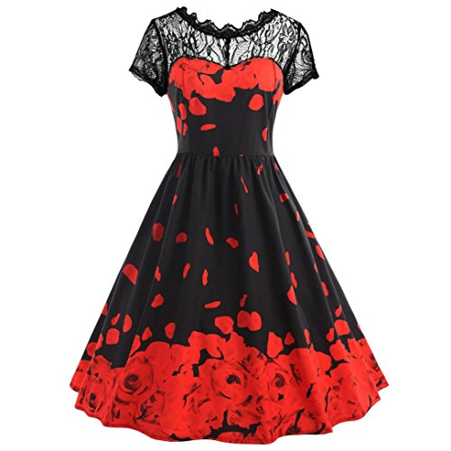 Womens Flowers Printing Dress Lace Short Sleeve Vintage Party Ball Prom Maxi Gown Zulmaliu (Red, 3XL)