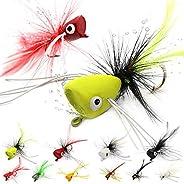 XFISHMAN Popper-Flies-for-Fly-Fishing-Topwater-Bass-Panfish-Bluegill Poppers Flies Bugs Lures