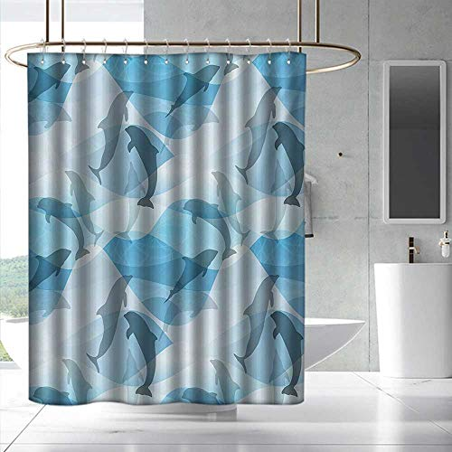 Fakgod Sea Animals Shower Curtain&Metal Hooks Dolphin Fish Pattern Silhouette Under The Sea Waves in Contemporary Design Bathroom Decoration W47 x L63 Blue and Grey