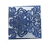 Luxury Laser Cut Navy Blue Lace Floral Wedding Invitation Invite Card, Cover Only (50PCS)