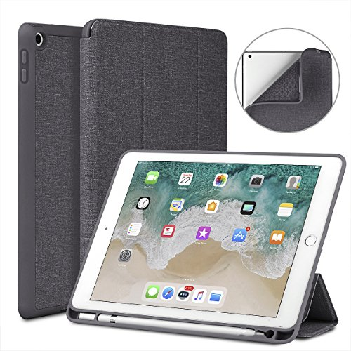 Soke New iPad 9.7 2018/2017 Case with Pencil Holder, Lightweight Smart Case Trifold Stand with Shockproof Soft TPU Back Cover and Auto Sleep/Wake Function for iPad 9.7 inch 5th/6th Generation, Grey by Soke
