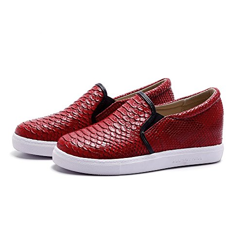 Amoonyfashion Dames Pull-on Pu Ronde Gesloten Teen Lage Hakken Assorti Kleur Pumps-schoenen Rood