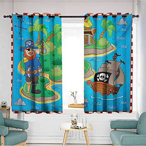 Olive Kids Pirates Treasure Map - AndyTours Doorway Curtains,Island Map Funny Cartoon of Treasure Island with A Pirate Ship and Parrot Kids Play Room,Space Decorations,W72x45L,Multicolor