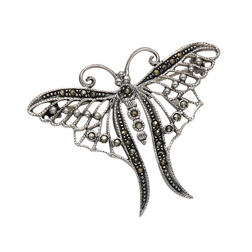Wild Things Sterling Silver & Marcasite Openwork Butterfly Pin