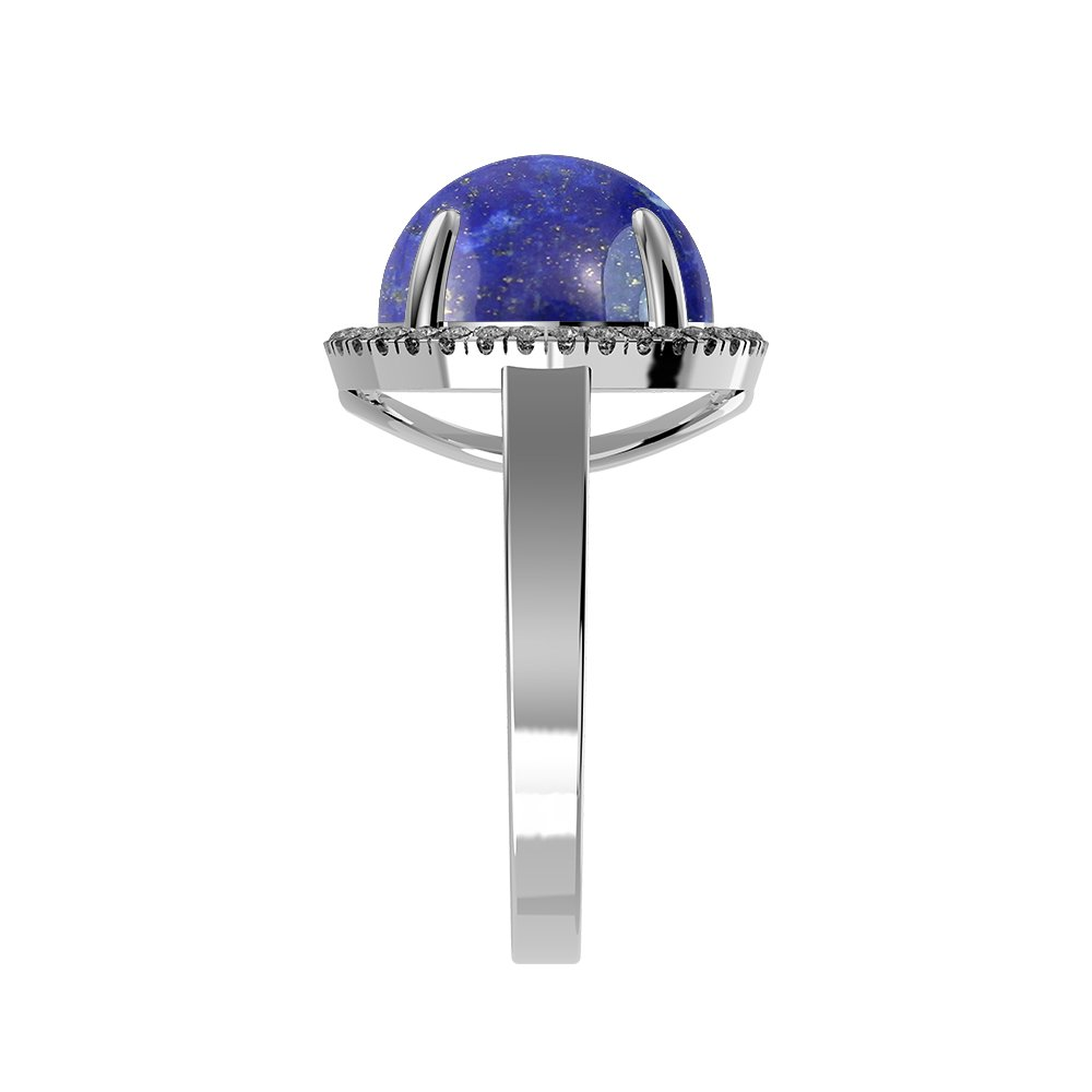 Genuine Lapis Round /& .925 Silver Overlay Solitaire Rings 5.60ctw