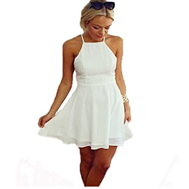 Kleider Halter Damen, Sondereu Weiß Rückenfrei Elegant Strandkleid ...