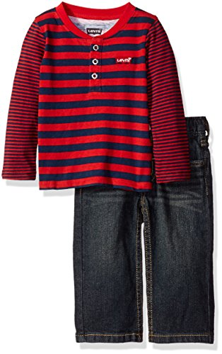 Levi's Baby Boys' Raglan Shirt and 505 Regular Fit Jeans 2-Piece Gift Box Set, Pompeian Red/Midnight, 18 Months