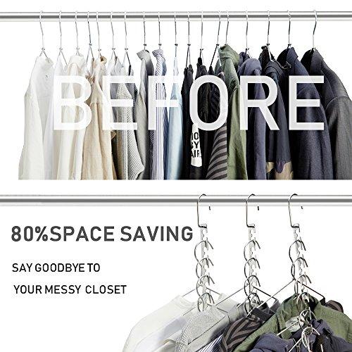 MeetU Space Saving Hangers Wonder Metal Clothes Hangers 6X2 Slots Magic Hanger Cascading Hanger Updated Hook Design Closet Organizer Hanger (Pack of 4)