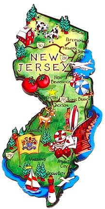 New Jersey Magnet - Large Map, New Jersey Magnets, New Jersey Souvenirs, New Jersey Gifts (Refrigerator Jersey Magnets New)