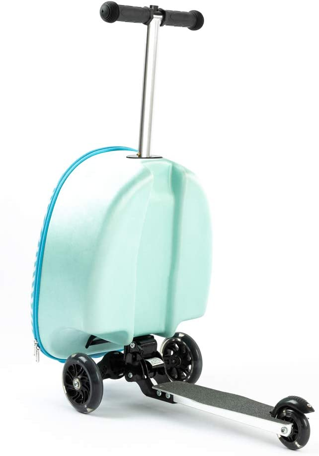"""Bumblebee Light Up LED Wheels Kiddie Totes 19/"""" Hardshell Carry-on Scooter Suitcase"""
