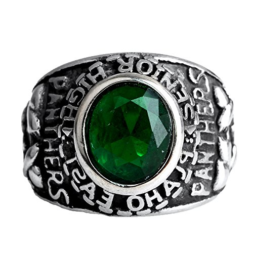 CARTER PAUL Men's Stainless Steel Blue/green/Black/Panthers Inlaid Zircon Golden Rings,Silver Green,Size (Ruby Panther Ring)