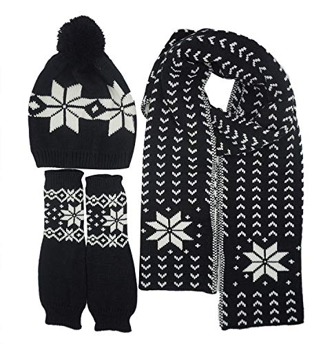 Women Scarf & Glove Set, Knitted Snowflake Detail & Matching ()