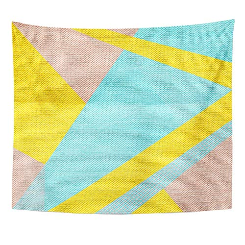 Emvency Tapestry 50x60 inches Wall Hanging Room Blue Abstract in Retro 80S 90S Memphis Universal Pastel Colors Modern Geometric Home Decor Wall Hanging Living Room Bedroom Dorm Tapestries
