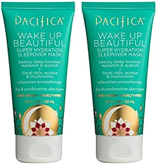 product image for Pacifica Wake Up Beautiful Mask (Pack of 2) with Sunflower Oil, Shea Butter, Avocado Oil, Jasmine Flower Water, Rice Bran Oil, Mushroom Extract and Matricaria Flower, 1.7 oz