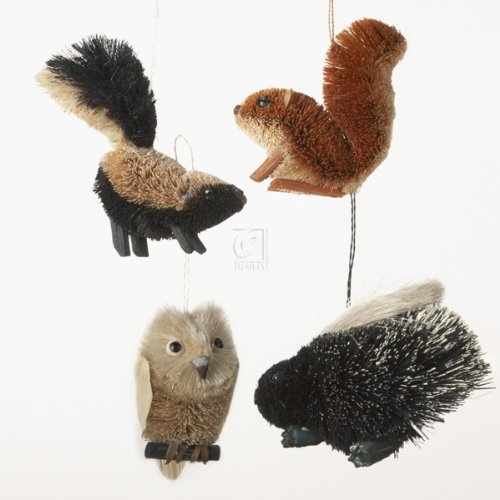Christmas Tablescape Decor - Assorted Woodland Animal Ornaments - Set of 4 by Kurt Adler Includes a skunk, owl, squirrel and porcupine