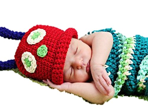 Matissa, Baby Photography Prop (Caterpillar) Newborn Baby Girl Boy Crochet Knit Costume Photo Photography Prop Hats Outfits