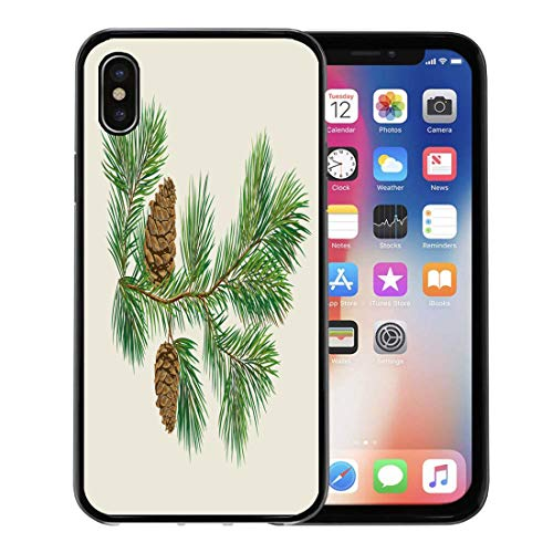 Semtomn Phone Case for Apple iPhone Xs case,Evergreen Branch of Christmas Tree Pine Cones Fir Winter Xmas December for iPhone X Case,Rubber Border Protective ()