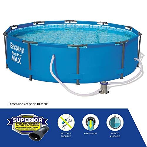 Bestway BW56408GB Steel Pro Max Swimming Pool with Pump, Blue, 10 ft x 30-Inch Round Frame Swimming Pool with Filter Pump, 4678 liters, Steel Pro Max, 30 Inch Deep, 10 ft