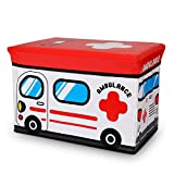 Luxury Home Collapsible Toy Storage Organizer | Toy Box Folding Storage Ottoman for Kids Bedroom | Perfect Size Toy Chest for Books, Kids Toys, Baby Toys, Baby Clothes (ambulance)