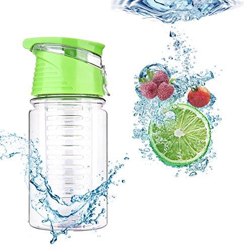 Kids Fruit Infusion Water Bottle Durable Eco-Friendly Tritan for Sport Plastic Water Bottle 12oz Volume(Green Cap)