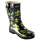 Women's Corkys, Sunshine rubber Rain Boots BLACK / GOLD 9 M