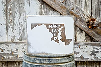 MINI Maryland Rustic Wood Signs - Whitewash State Signs - Home State Decor - Personalized State Sign 6x7in